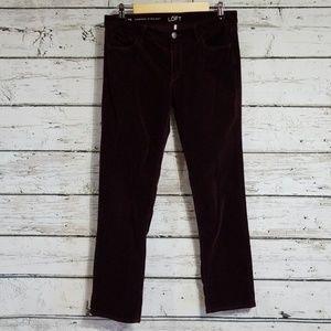 Loft Dark Eggplant Corduroy Pants Sz 8